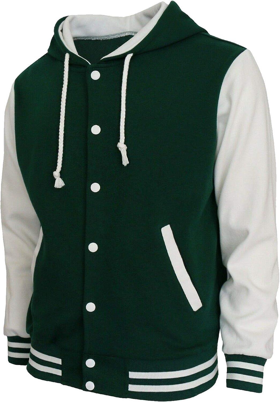 Mens Letterman Baseball Cotton Fleece Hoodie Varsity Jacket ( Green White )