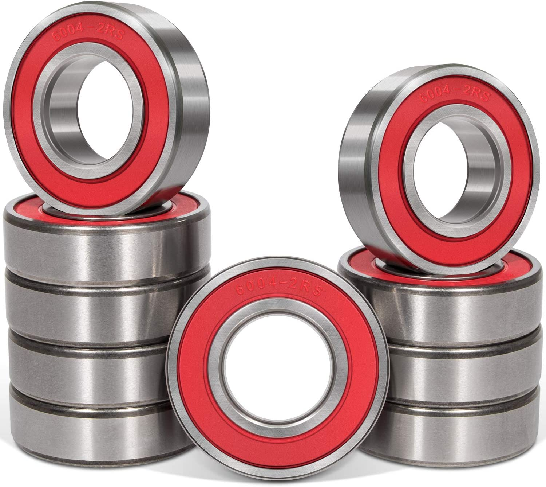 10 Pcs 6004-2RS Ball OFFicial shop Bearings Quiet Rubber 20x42x12mm Sales Double