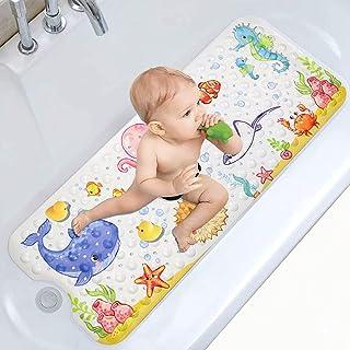 Moocuca Alfombrilla Antideslizante Bañera 100 x 40cm, Alfombra Baño Infantil con 200 Ventosas Fuertes, Motivos del Mundo ...