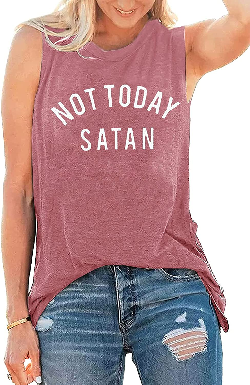 Umsuhu Not Today Satan Tank Top Women Sleeveless Casual Summer Tank Tops Shirts