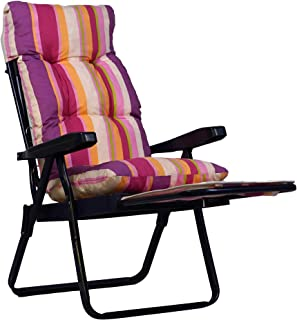 Repuesto de cojín para tumbona super acolchado - Color: multirayas rosa / lila / fucsia