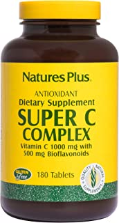 NaturesPlus Super C Complex - 1000 mg, 180 Vegetarian Tablets - High Potency Vitamin C Immune Support Supplement, Antioxid...