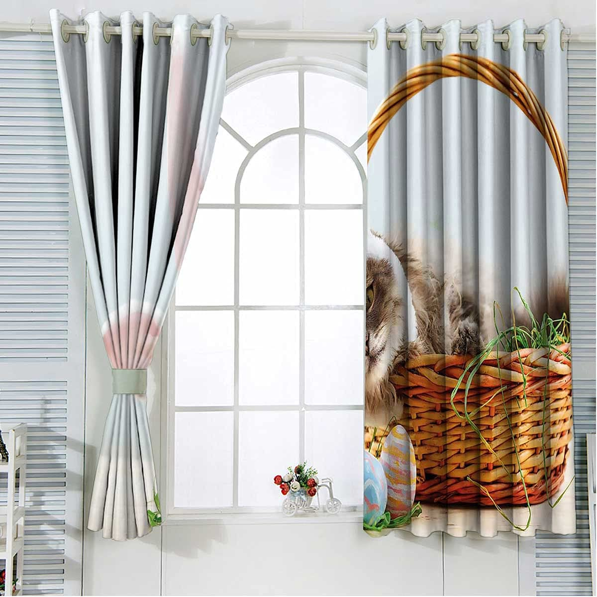 Small Curtains for Windows 72 Inches Cat Rabbi Very popular as Over item handling ☆ Easter Length