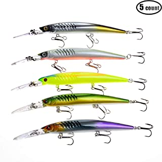 5pcs/lot Deep Diving Runner Minnow Jerkbaits Hard Plastic Fishing Lures Bass Tourt Baits Hook Tackle for Saltwater and Freshwater 14.5cm/5.7