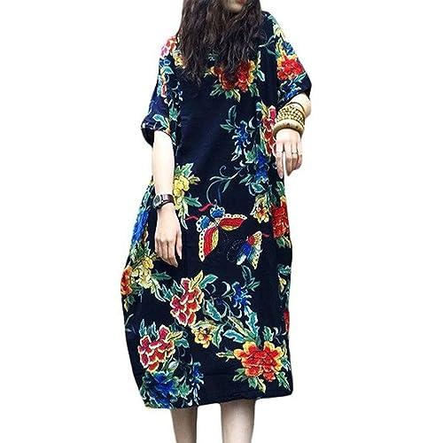 a0d94142a3853 Jacansi Women s Summer Floral Print Short Sleeve Casual Tunic Shirt Dress 5  Colors S-5XL