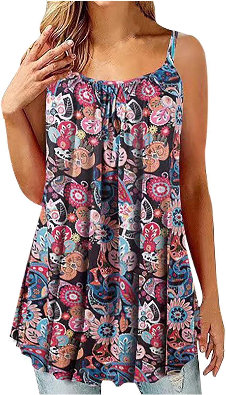 Womens Summer Tops Women Puls-Size Crewneck Button Sleeveless Vest Printing Short T-Shirt Sling Tops Juniors Girls