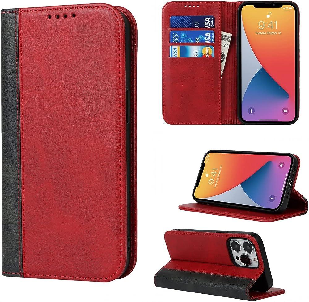 Copmob portacarte di credito portafogli custodia per iphone 13 pro Psxnw i13 Pro Red+Black