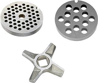 Wessper 2 x Grille Hachoir N°5 (Diamètre des Trous: 4/8 mm), 1 x Couteau pour Hachoir N°5
