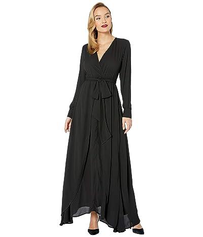 Unique Vintage Long Sleeve Farrah Maxi Dress (Black) Women