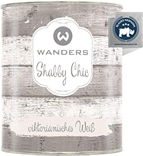 Wanders24 Kreidefarbe 750 ml, viktorianisches Weiß Holzfarbe für Shabby Chic Look - Möbelfarbe einfach zu verarbeiten - Möbellack auf Wasserbasis - Made in Germany