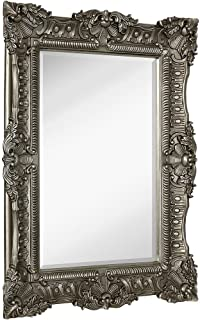 Hamilton Hills Large Ornate Antique Silver Baroque Frame Mirror | Aged Luxury | Elegant Rectangle Wall Piece | Vanity, Bedroom, or Bathroom | Hangs Horizontal or Vertical | 100% (30