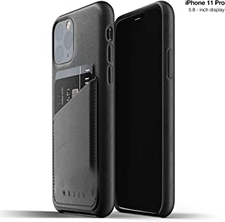 Mujjo Full Leather Wallet Case for Apple iPhone 11 Pro   2-3 Card Holder Pocket   Premium Soft Supple Leather, Unique Natural Aging Effect (Black)