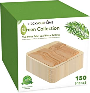 Eco Dinnerware Bamboo Like Palm Leaf Plates and Cutlery (150 Pieces) 50 Palm Leaf Plates, 50 Wooden Forks and 50 Wooden Knives - Compostable Plates and Cutlery