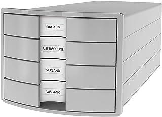 HAN IMPULS Boîte de rangement 4 tiroirs fermés Gris clair Format A4/C4