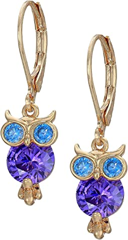 CZ Owl Drop Earrings