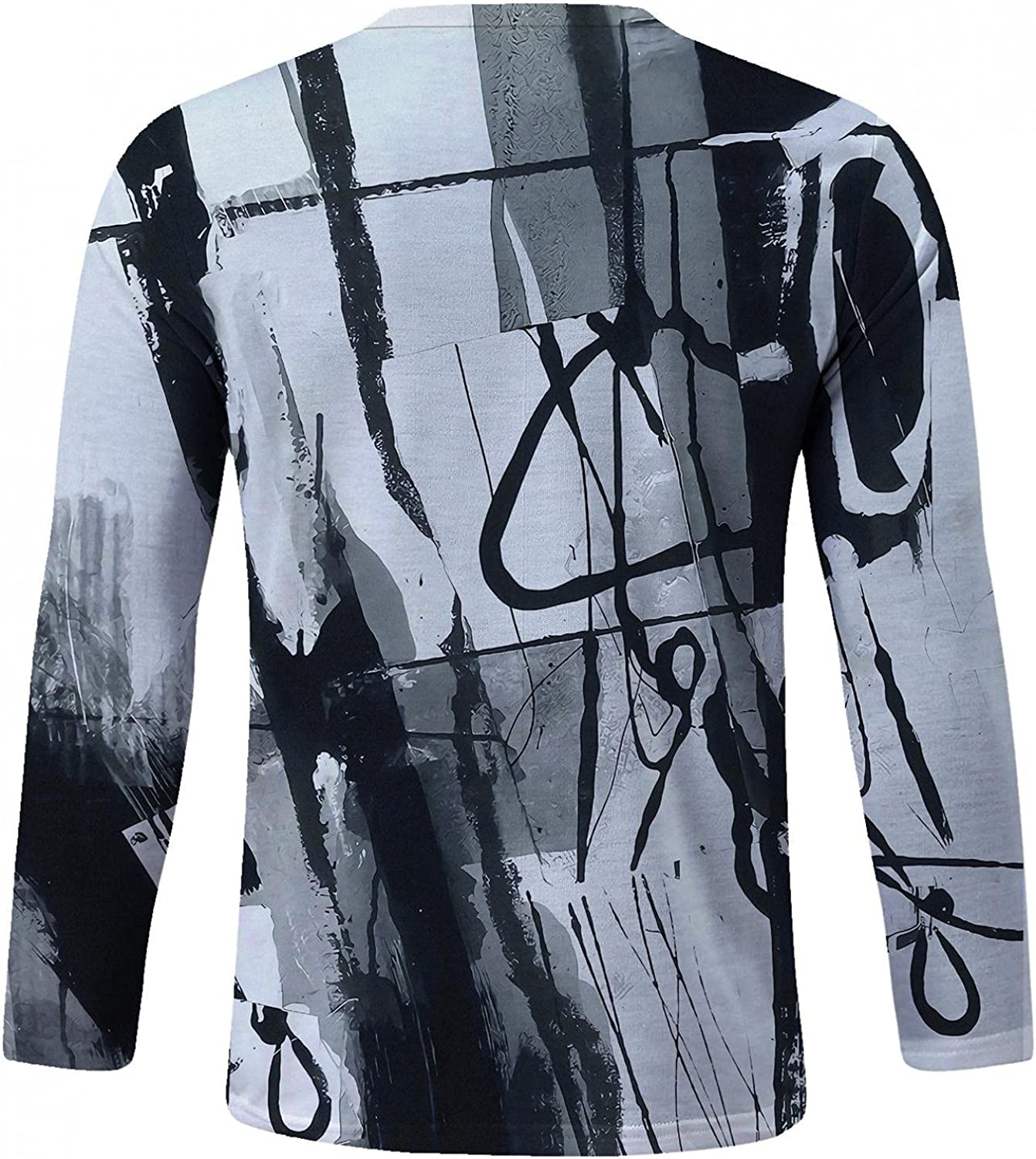 Mens Crewneck T Shirts Long Sleeve Print Pullover Tops Linghtweight Workout Quik-Dry Blouse Soft Cozy Slim Fit Shirt