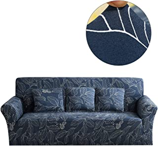 Hengwei Printed Sofa Cover - Stretch Couch Cover Sectional Sofa Slipcovers for 3 Cushion Couch Elastic Polyester Tight Wrap All-inclusive Slip-resistant, Furniture Protector (Blue Leaves 3 Seat)