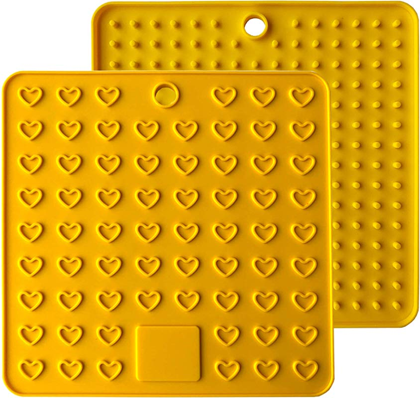 Heart Shaped Silicone Trivet Mats Pot Holders Spoon Rest Coasters Heat Resistant Insulation Pad Kitchen Tool Yellow