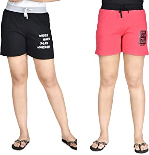 Club A9 Women's Cotton Printed Shorts | Short Pants | Hot Pants (Pack of 2)