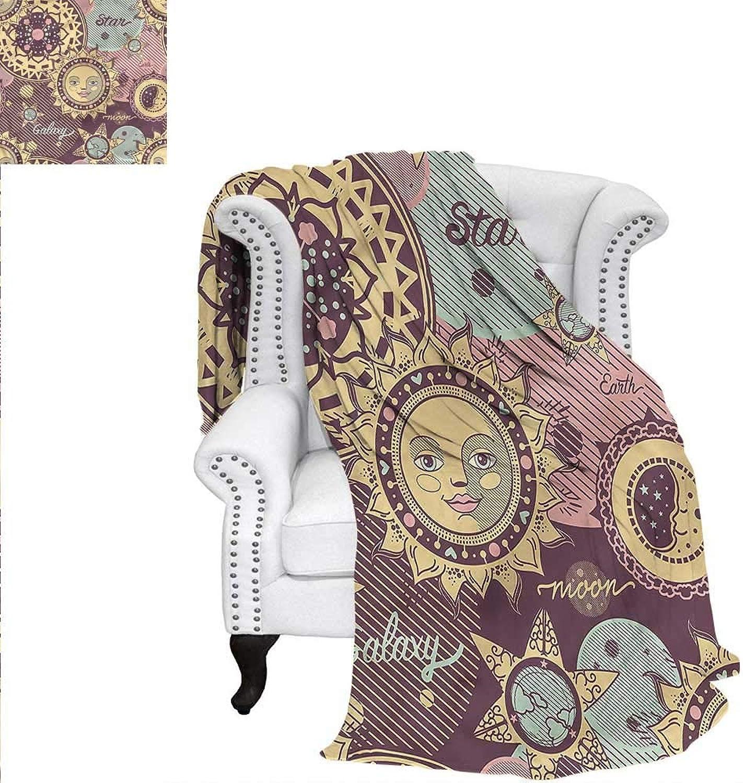 RenteriaDecor Sun Moon Super Soft Blanket Fantasy Cartoon Space Weave PatternBlanket 60 x50