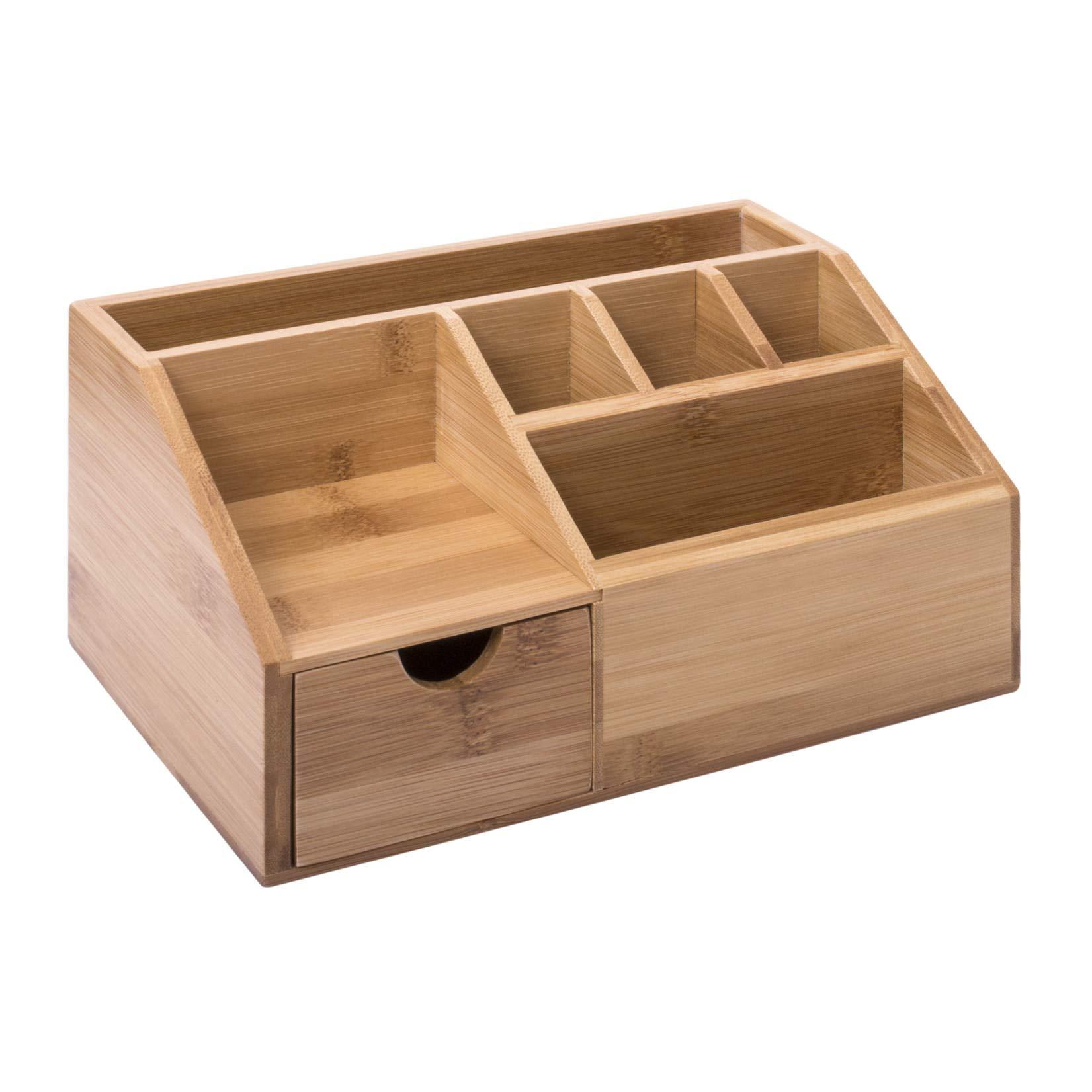 woodluv Bamboo Desk Tidy Organisers Pen Pencil Holder Letter Rack Tablet  Holder, Multi-funtional Storage Organizer, 43.43 x 143 x 43cm
