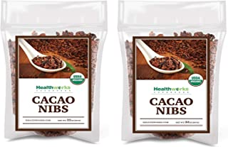 Healthworks Cacao/Cocoa Nibs Raw Organic (64 Ounces / 4 Pound) (2 x 2 Pound Bags)   Unsweetened Chocolate Substitute   Certified Organic   Keto, Vegan & Non-GMO   Antioxidant Superfood   Peruvian Bean