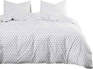 Wake In Cloud - Polka Dot Comforter Set, 100% Cotton Fabric with Soft Microfiber Fill Bedding, Black Dotted Modern Pattern Printed on White (3pcs, Queen Size)