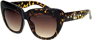 Womens Punk Skull Stud Thick Eyebrow Cat Eye Sunglasses