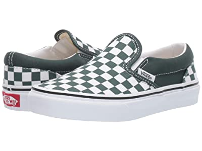 Vans Kids Classic Slip-On (Little Kid/Big Kid) ((Checkerboard) Trekking Green/True White) Boys Shoes