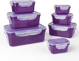 GOURMETmaxx Jeu de 7 récipients Alimentaires sans BPA y Compris Le Couvercle | Fermeture à 4 clics et Joint en Silicone | ...