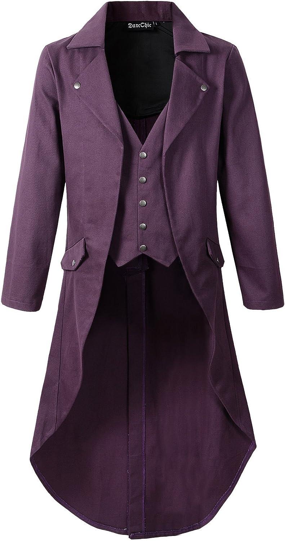 Mens Gothic Tailcoat Jacket Black Steampunk VTG Victorian Coat (L, Purple)