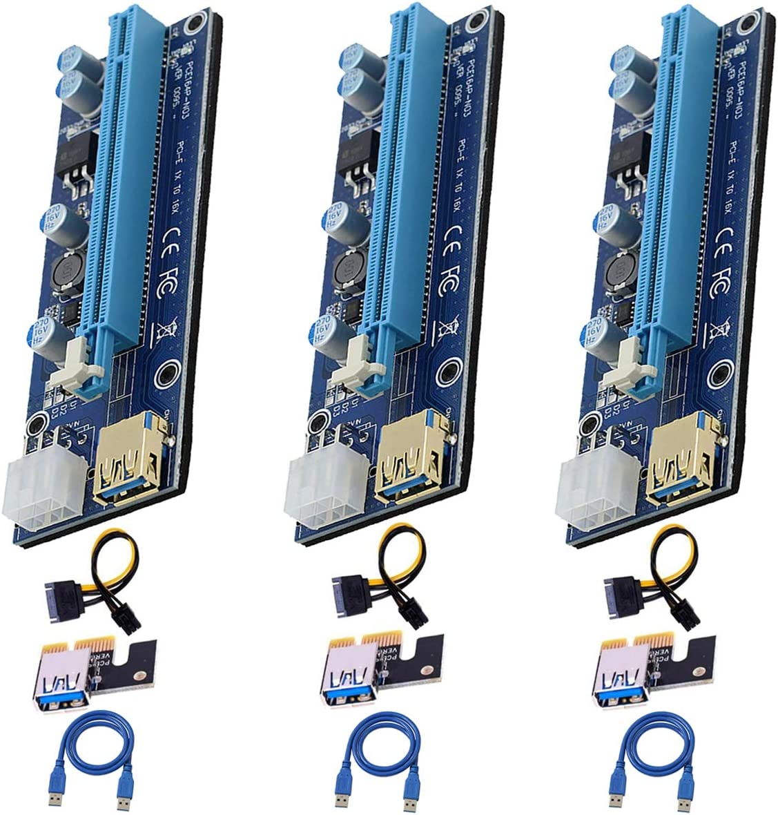 PCI-E Riser Card PCIE 1X Austin Mall to 16X with 3.0 SAT USB Cable High order Adapter