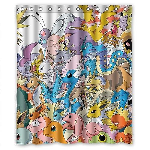 RELAX Pikachu And Pokemons Cartoon Kids Favourite Waterproof Shower Curtain 60w X