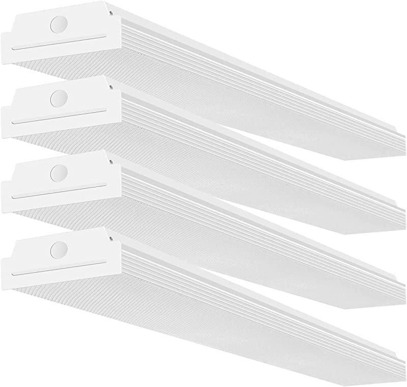 FaithSail 4FT LED Wraparound 40W Wrap Light 4400lm 4000K Neutral White 4 Foot LED Shop Lights For Garage 48 Inch LED Light Fixtures Ceiling Mount Office Light Fluorescent Tube Replacement 4 Pack