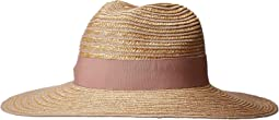 WSH1209 - Wheat Straw Hat with Blush Grosgrain Ribbon Trim