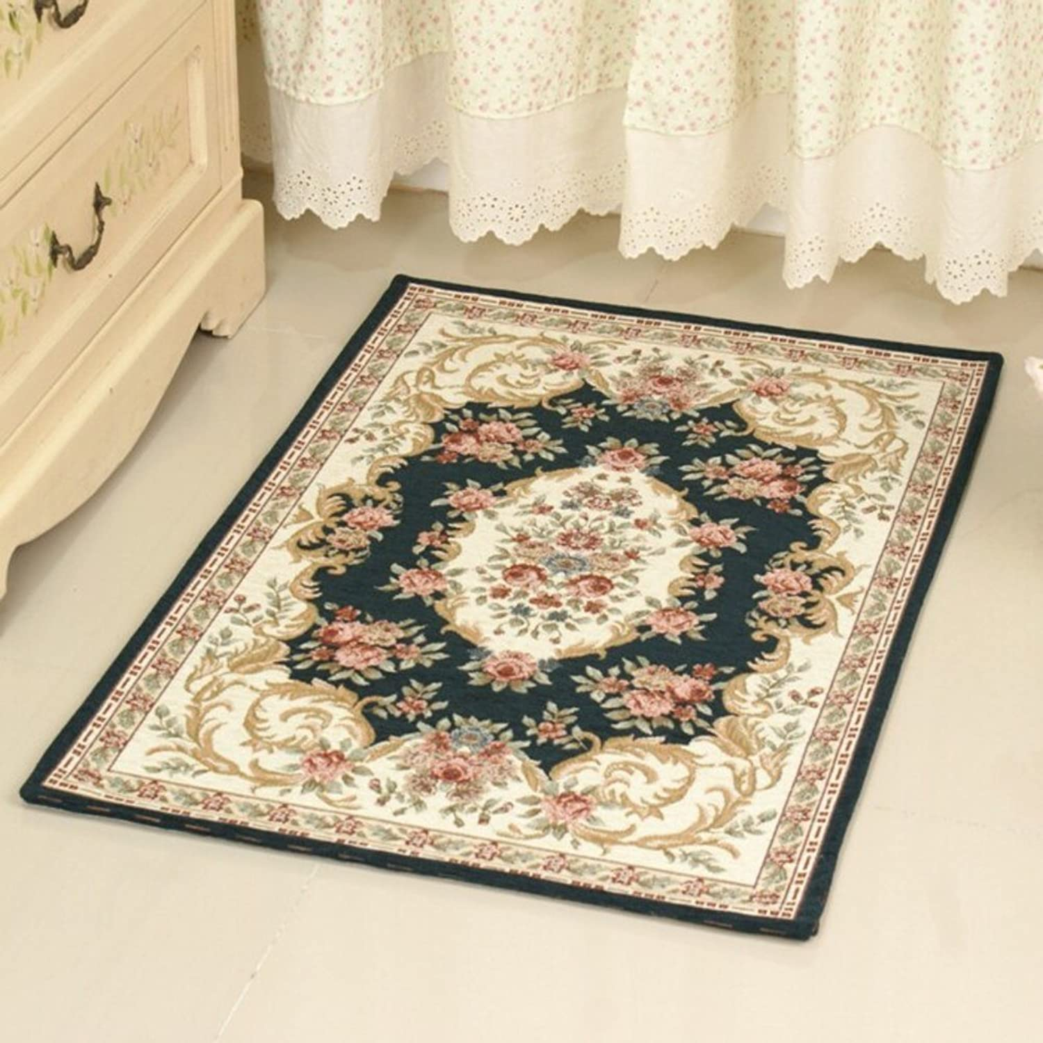European-Style Floor mats Indoor mat Bedroom Living Room Kitchen Bathroom Non-Slip Water-Absorption mat-I 90x140cm(35x55inch)