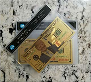 President Donald Trump - $1000 Dollar Bill in 24K Gold 3D Overlay Includes COA