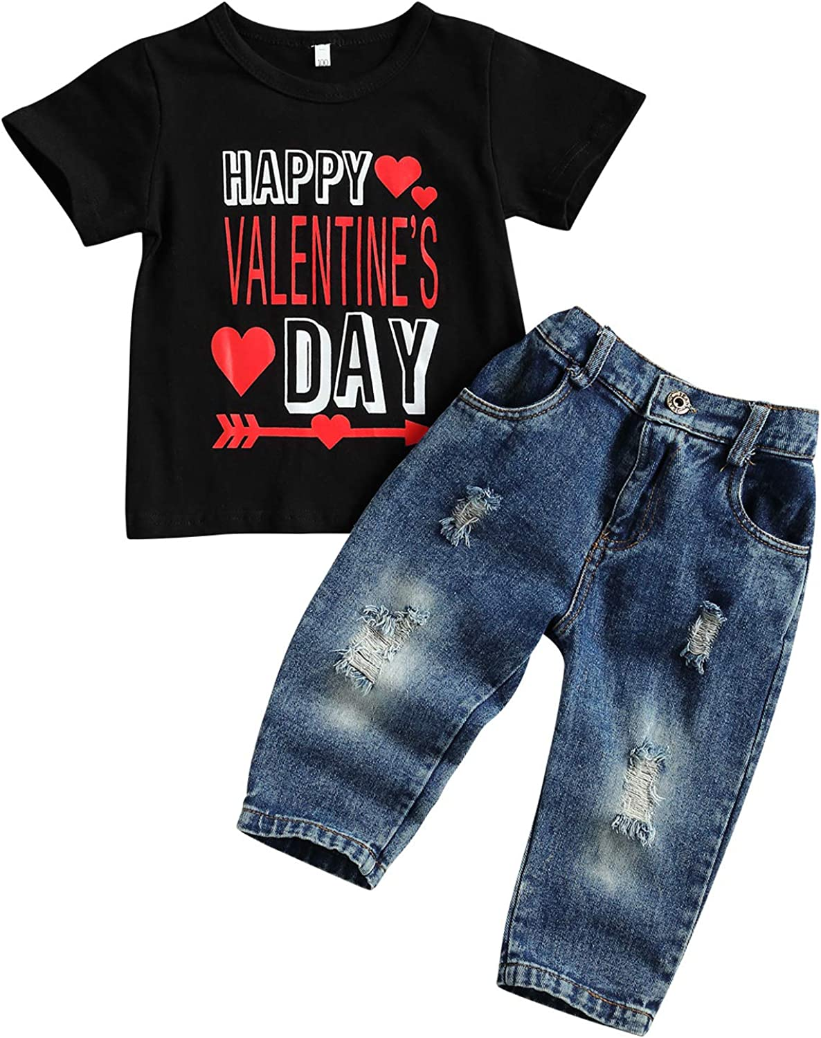 GOOCHEER Valentine's Day Toddler Boy Girl Outfit Short Sleeves Shirt Jeans Toddler Girl Boy Valentine's Day Clothes