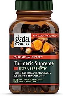 Gaia Herbs, Turmeric Supreme Extra Strength, Turmeric Curcumin Supplement with Black..