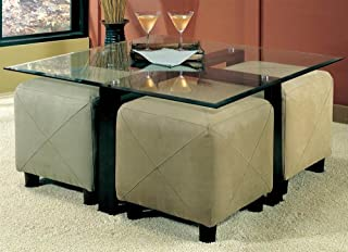 Coaster Home Furnishings Coffee Table with Beveled Glass Top and Black Metal Frame