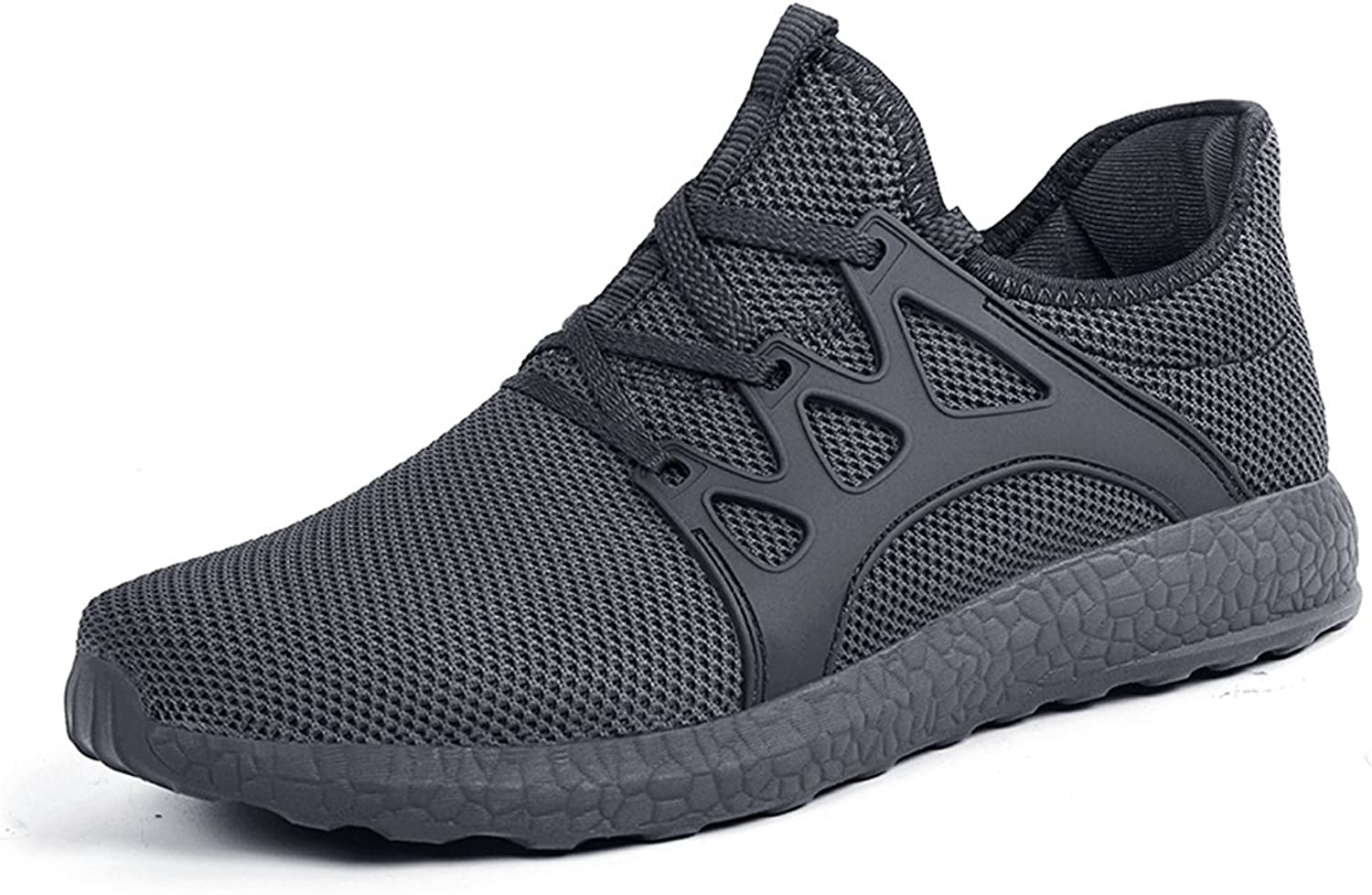 ZOCAVIA Men's Casual Sneakers Ultra Lightweight Breathable Mesh Sport Walking Running shoes, Dark Grey, 12.5 D(M) US