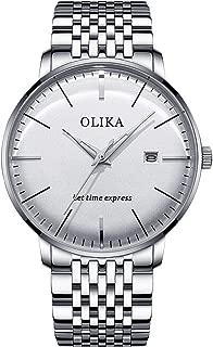 RORIOS Men Watches Analog Quartz Watch Luminous Wrist Watch with Date Stainless Steel Strap Simple Sport 3D Men's Watches