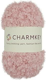 Soft Fur Yarn - Charmkey Super Fluffy 5 Chunky New Design 100% Polyester Flower Holiday Baby 12 Ply Knitting Eyelash Yarn for Furry Amigurumi Toys Shawls Scarves, 1 Skein, 3.53 Ounce (Salmon)