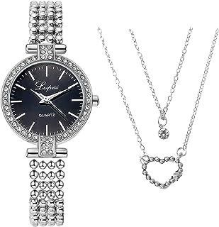 HAHALU Orologio collana Set di orologi da collana,Classico Orologio da Polso al Quarzo,Orologio da Donna, il Miglior Regal...