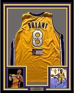 Framed Autographed/Signed Kobe Bryant 33x42 Los Angeles LA Yellow Basketball Jersey PSA/DNA COA