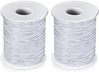 2 Roll 0.8 mm Elastic Cord Thread Beading Threads Stretch String Fabric Crafting Cord for Jewelry Making 100 m Outus-Beadi...