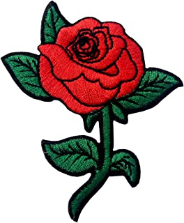 Red Rose Embroidered Badge Iron On Sew On Patch