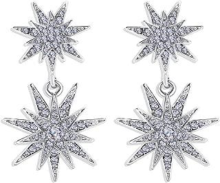 Starburst Dangle Drop Earrings Crystal Hexagram Star Stud Statement Dangle Earrings Wedding Earrings for Women