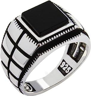 Solid 925 Sterling Silver Onyx Stone Turkish Handmade Luxury Men's Ring