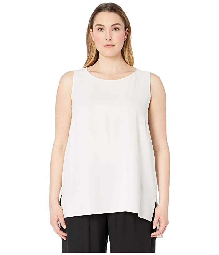 Eileen Fisher  Plus Size Silk Georgette Crepe Bateau Neck Long Shell (Bone) Womens Blouse